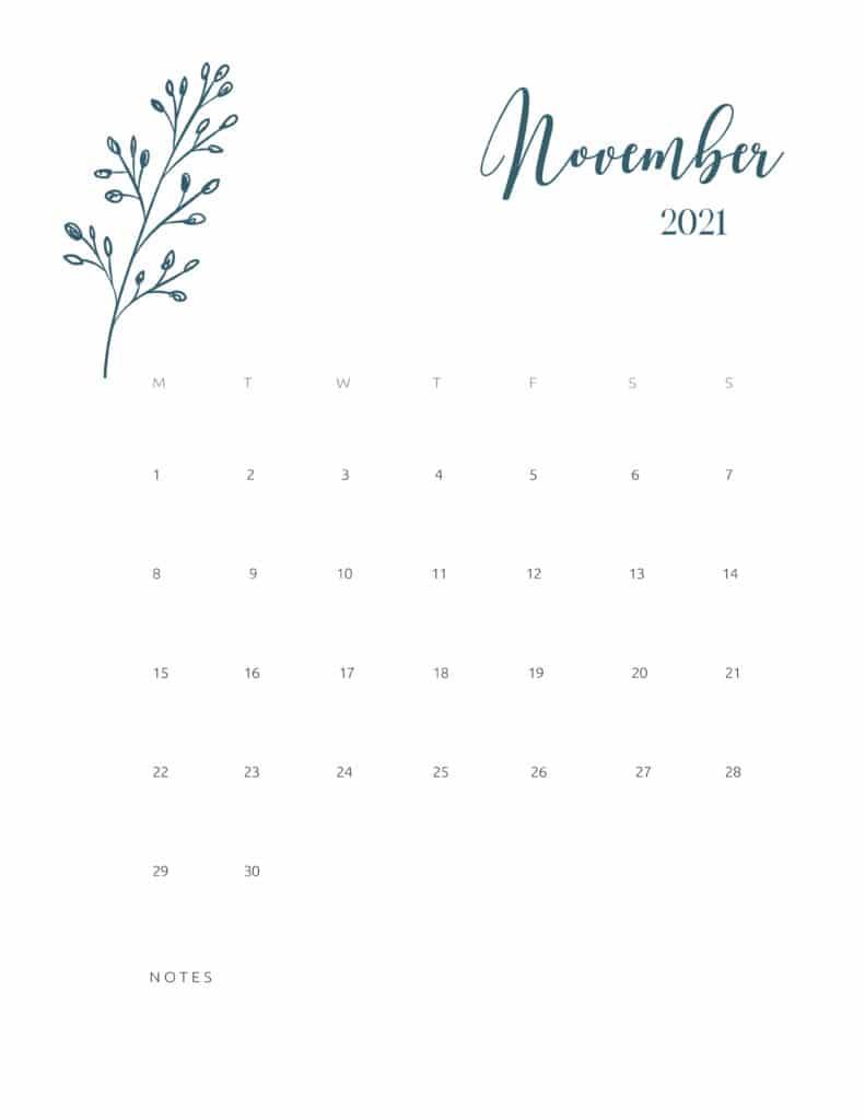 Free Printable Calendar November 2021 Floral