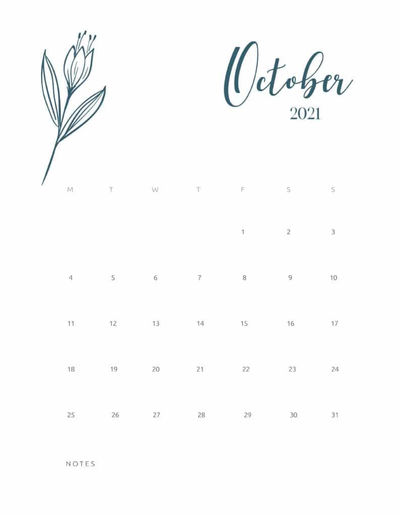 Free Printable Calendar October 2021 Floral