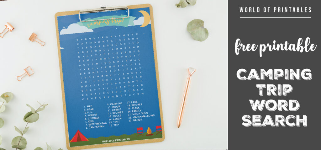 Free Printable Camping Trip Word Search