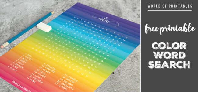 Free Printable Color Word Search