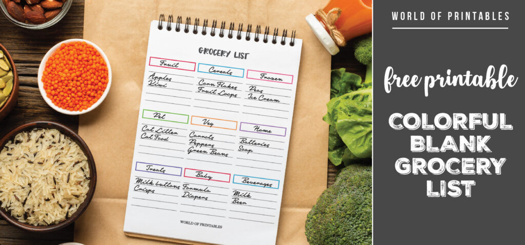 Free Printable Colorful Blank Grocery List