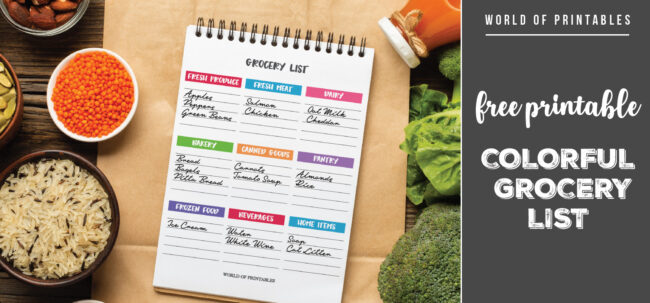 Free Printable Colorful Grocery List