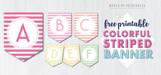 Free Printable Colorful Striped Banner. Easy DIY printable birthday banners for a kids birthday or adult birthday. Easy birthday decor ideas.