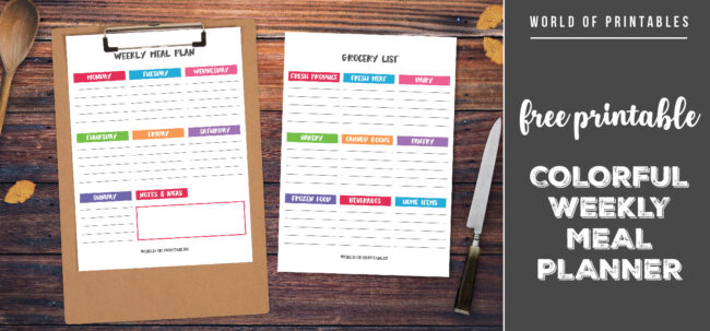 Free Printable Colorful Weekly Meal Planner