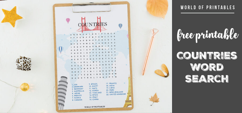Free Printable Countries Word Search