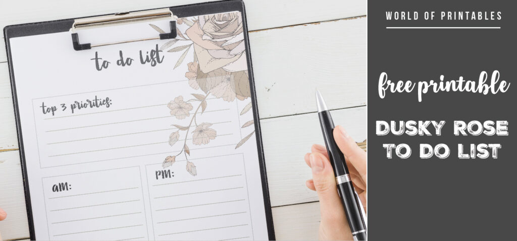 Free Printable Dusky Rose To Do List