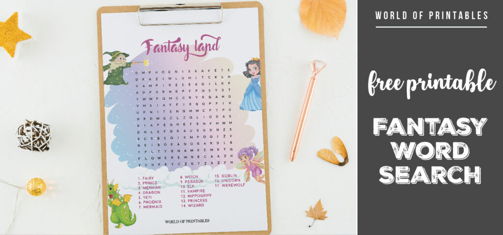 Free Printable Fantasy Word Search