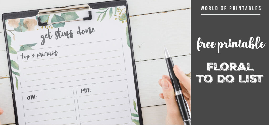 Free Printable Floral To Do List