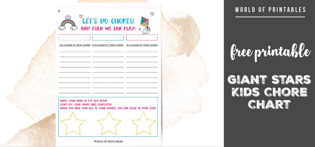 Free Printable Giant Stars Kids Chore Chart