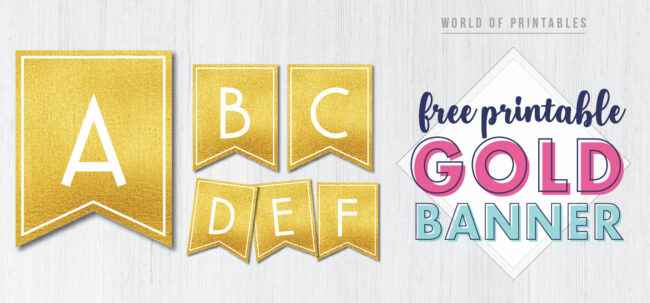 Free Printable Gold Banner Letters. These golden free printable letters for banners are a great DIY to customize a banner for birthday party