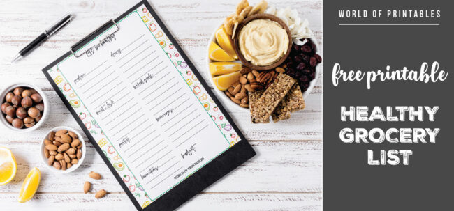 Free Printable Healthy Grocery List