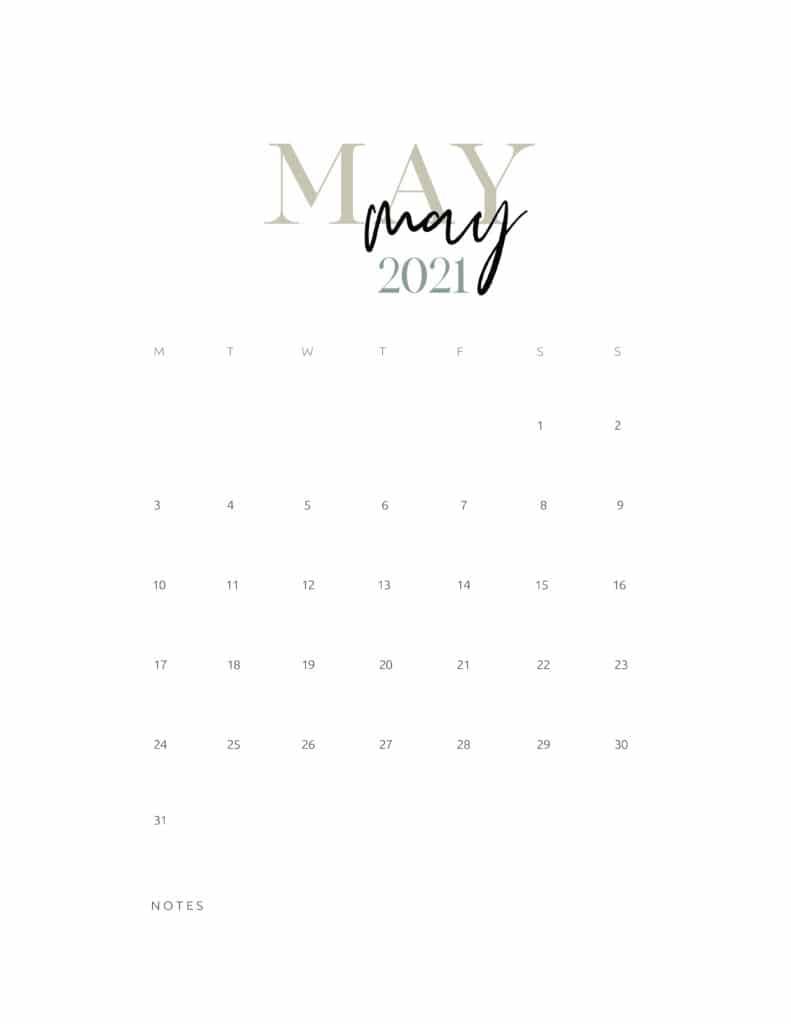 Free Printable May 2021 Calendar