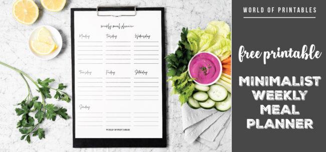 Free Printable Minimalist Weekly Meal Planner