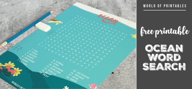 Free Printable Ocean Word Search