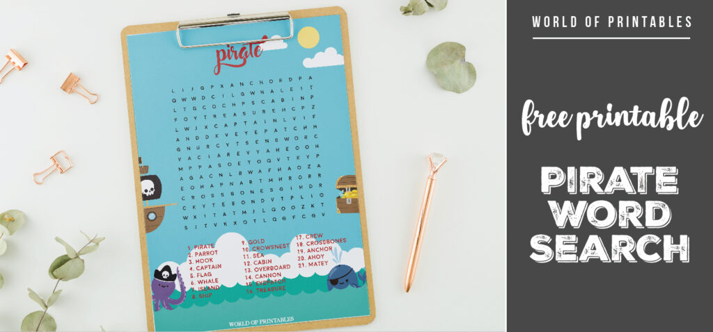 Free Printable Pirate Word Search