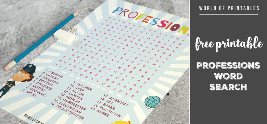 Free Printable Professions Word Search