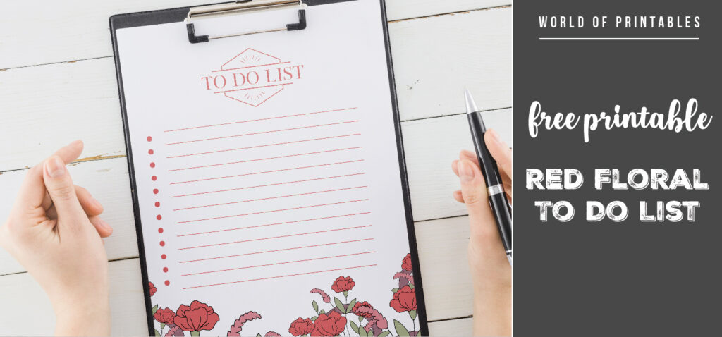 Free Printable Red Floral To Do List