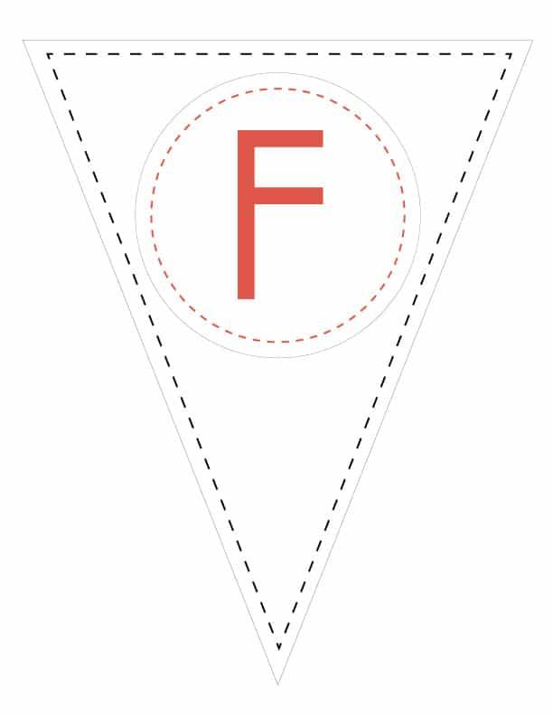 Free Printable Simple Colorful Banner Letters. Custom DIY printable banner pennant flag template.