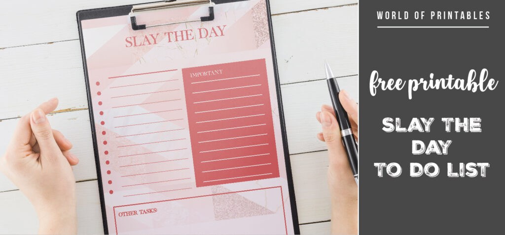 Free Printable Slay The Day To Do List