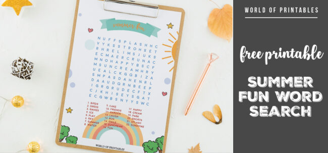 Free Printable Summer Fun Word Search