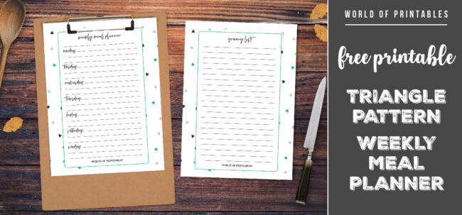 Free Printable Triangle Pattern Weekly Meal Planner