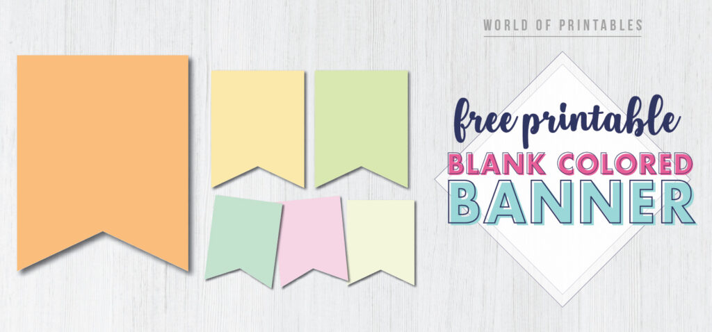 Free Printable blank colored banner. These blank colorful banners can be printed to create a colorful birthday party banner or print in one color from the wide range of colors available.