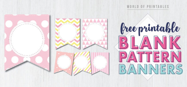 Free Printable blank pattern banner letters. Pink patterns perfect for girls birthday party or baby shower.