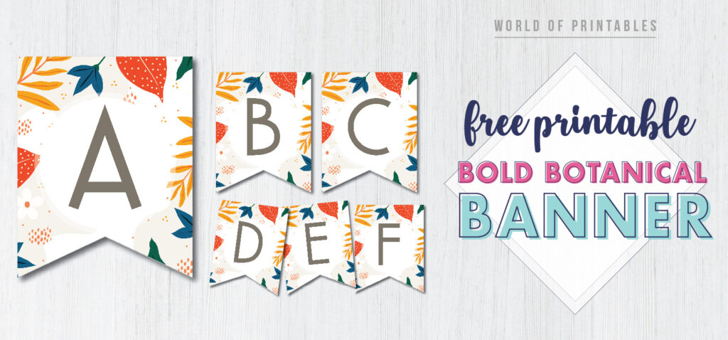 Free Printable bold botanical banner. This pretty colorful floral banner is a perfect happy birthday printable banner.