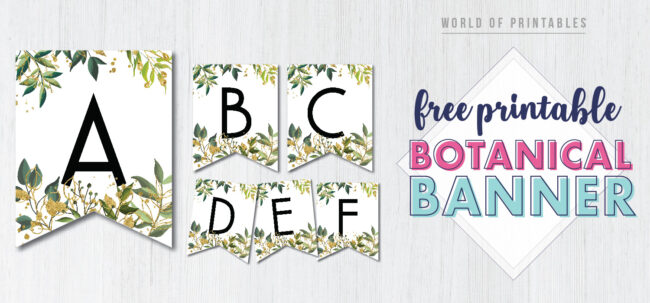 Free Printable botanical banner letters for a happy birthday party or any kind of party where floral pennant banners would look great.