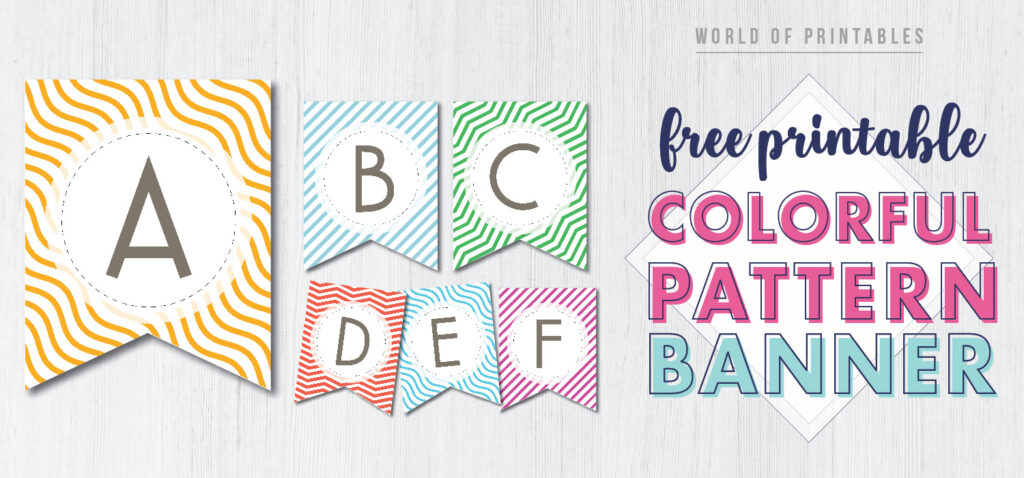 Free Printable colorful striped pattern banner letters. Happy birthday banner, baby shower printable banner, bridal shower banner