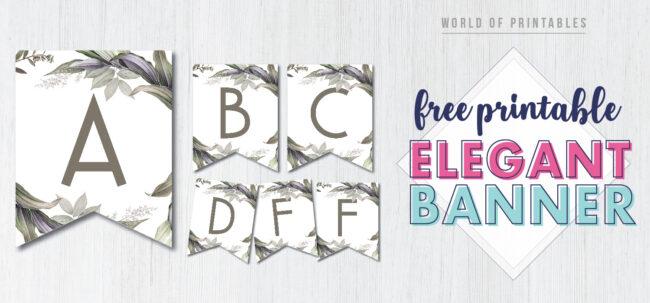 Free Printable elegant botanical banner. DIY custom printable banner for birthday party, bridal shower, wedding, engagement