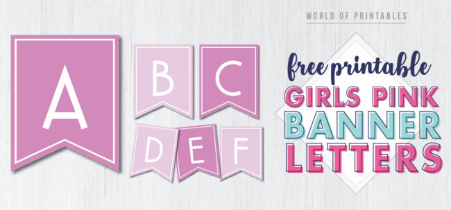 Free Printable girls pink banner letters. free happy birthday banner for girls.