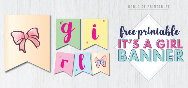 Free Printable its a girl banner. Free printable it's a girl banner. Girl baby shower banner. Free printable banner for girls baby shower.