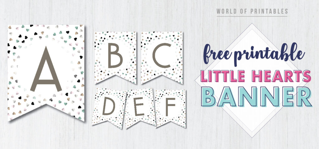 Free Printable little hearts banner. This pretty banner is perfect for a girls baby shower party.