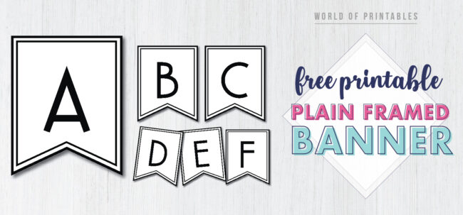 Free Printable plain framed banner letters. Simple personalized printable banner template DIY