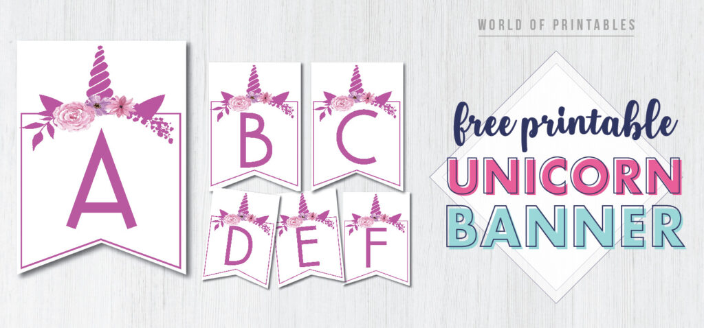 Free Printable unicorn style theme banner letters. Customize these unicorn style banner letters for a little girls birthday party or baby shower.