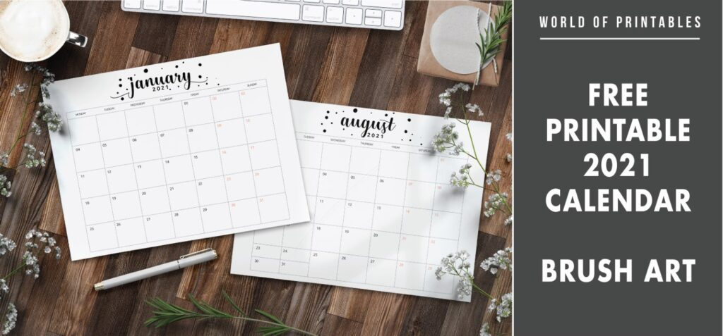 Free printable 2021 calendar Brush art