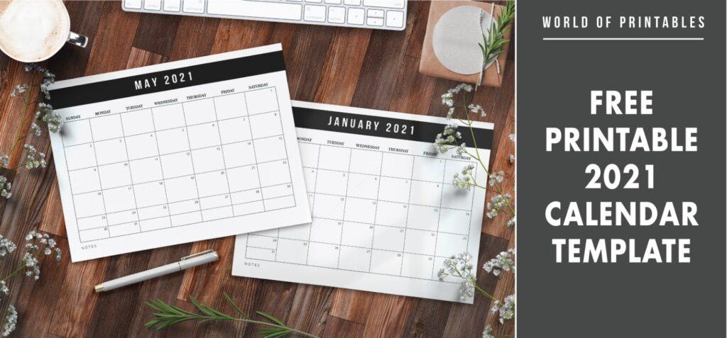 Free printable 2021 calendar template