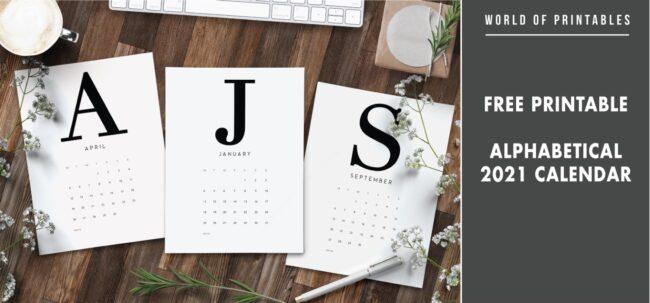 Free printable alphabetical 2021 calendar