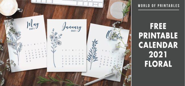 Free printable calendar 2021 floral