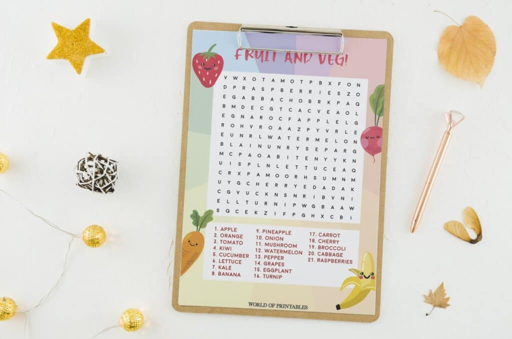 Fruit and Veg Word Search