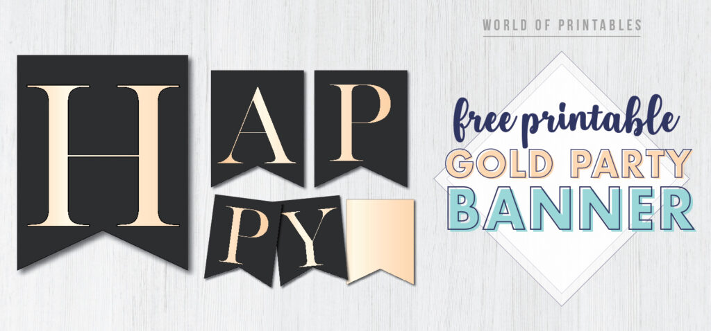 Gold happy birthday banner free printable with gold letters. This stylish banner pennant flags with gold letters is perfect for a happy birthday party.