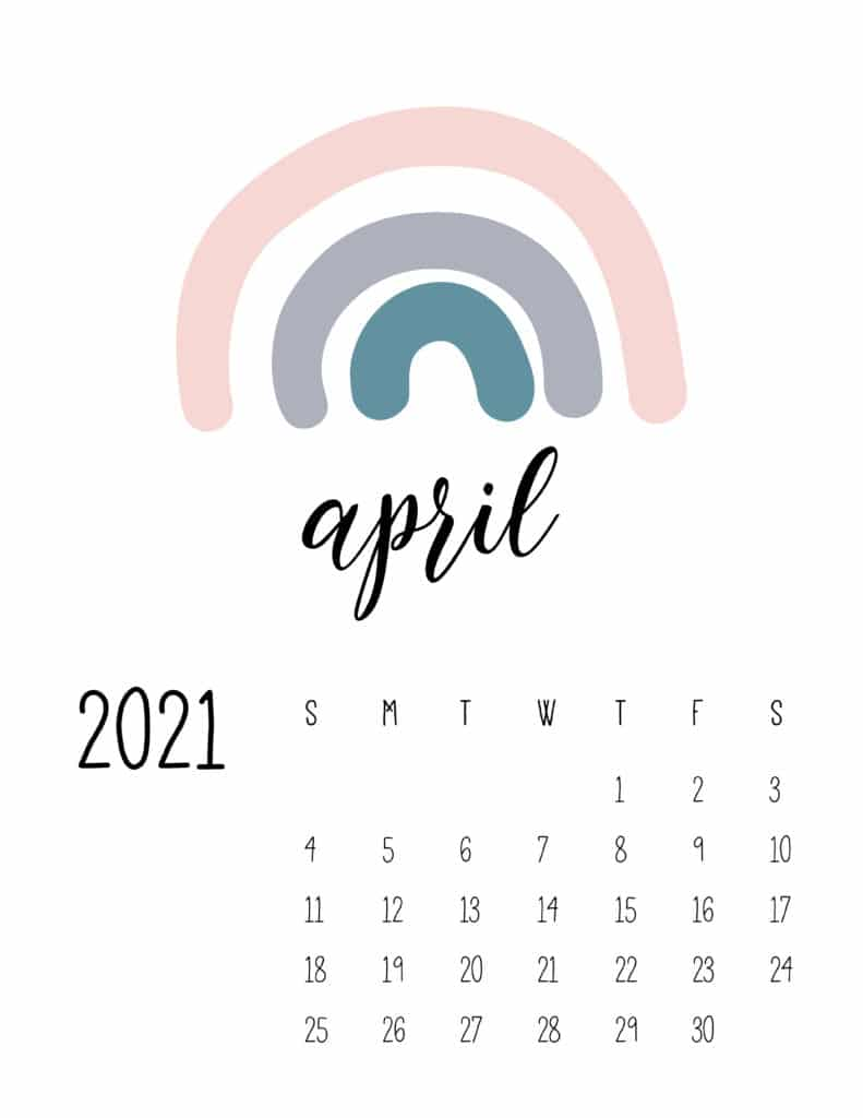 Happy Rainbows April 2021 Calendar