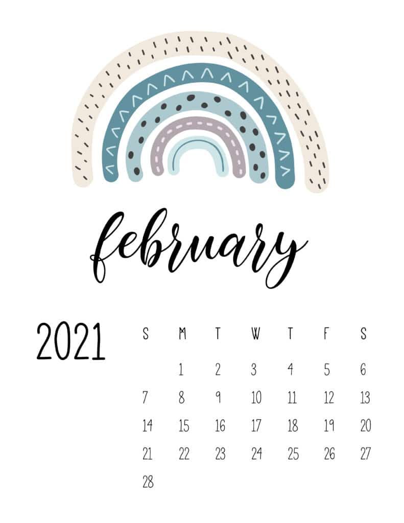 Happy Rainbows February 2021 Calendar