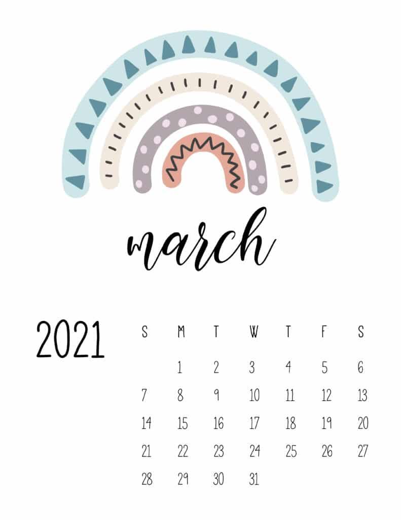 Happy Rainbows March 2021 Calendar