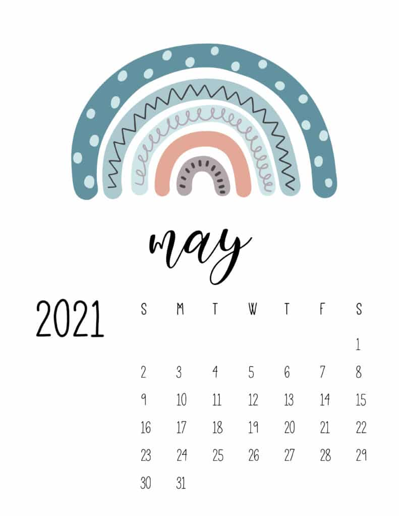 Happy Rainbows May 2021 Calendar