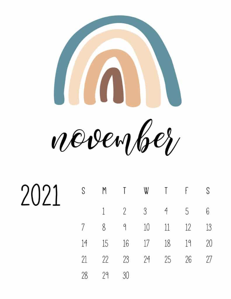 Happy Rainbows November 2021 Calendar
