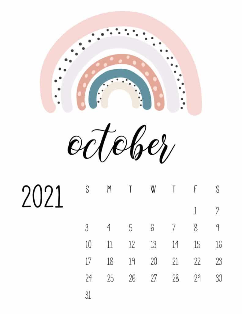 Happy Rainbows October 2021 Calendar