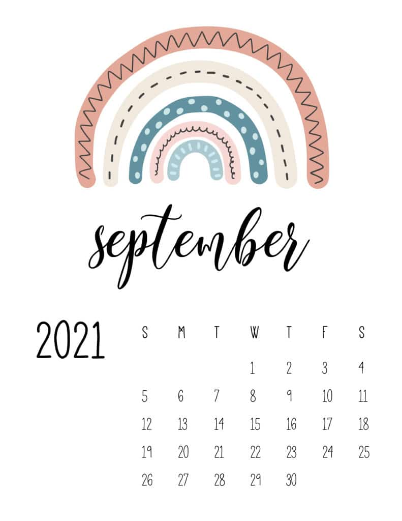 Happy Rainbows September 2021 Calendar