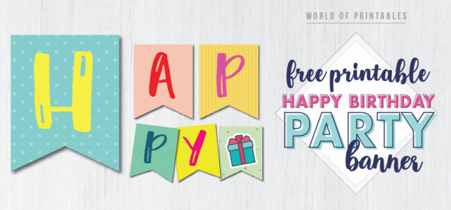 Happy birthday party banner free printable. This customized DIY happy birthday banner printable pennant flags is the perfect banner for a birthday party.